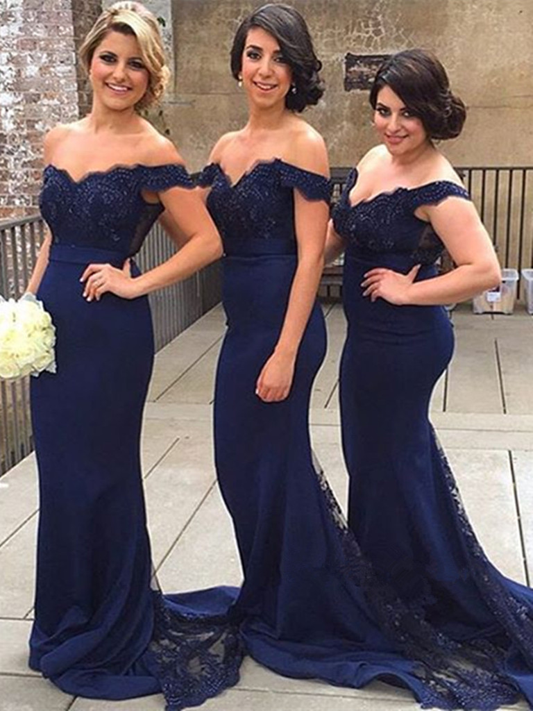 A31 Sweetheart Neck Off Shoulder Navy Blue Lace Prom Dresses, Navy ...