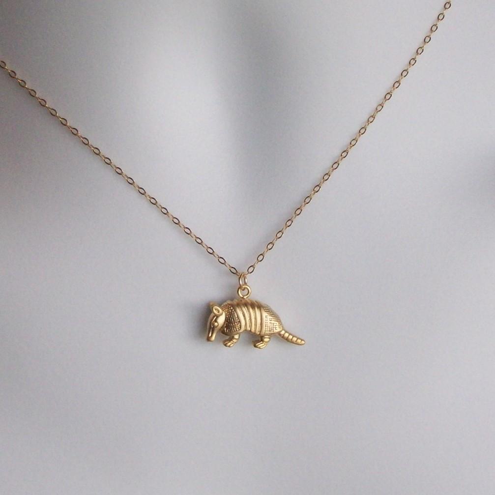 Gold Armadillo Necklace 3d Armadillo Pendant Necklace