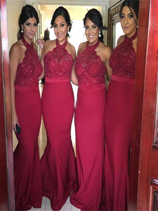 Red Mermaid bridesmaid dresses, long Halter