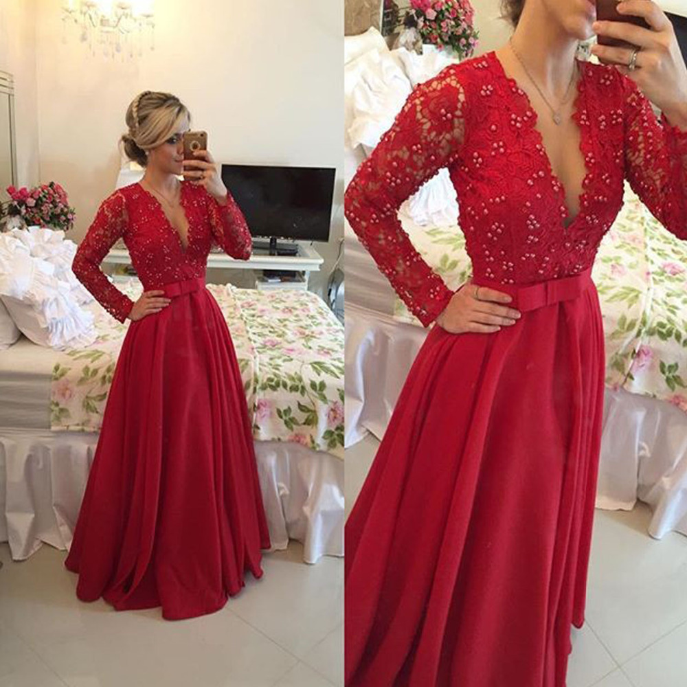 Red Chiffon Party Dress