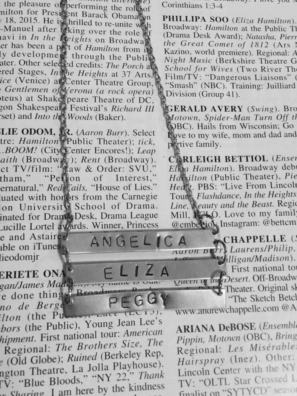 Hamilton Broadway Schuyler Sisters Triple Bar Necklace