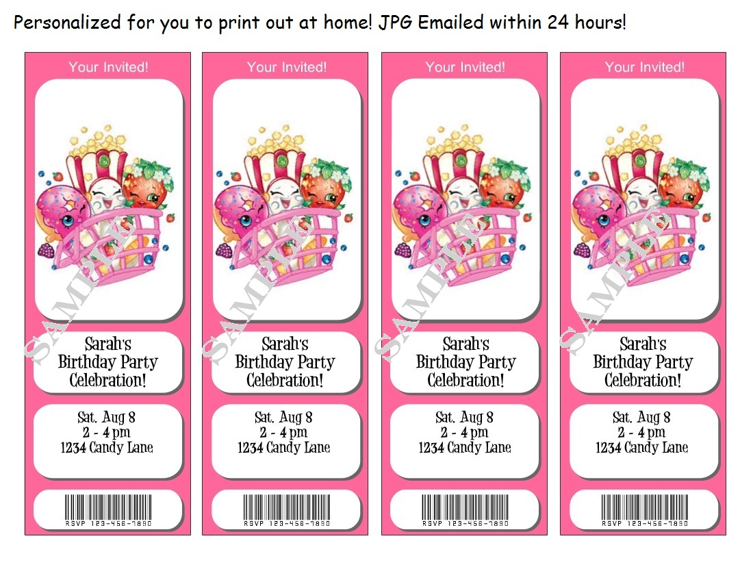 Shopkins Birthday Invitations Tickets