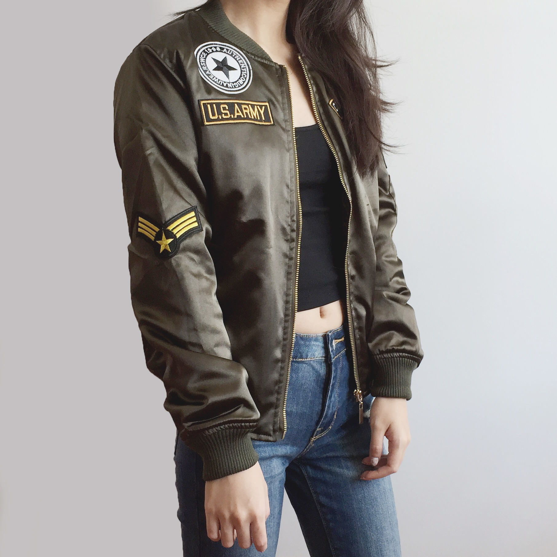 abef2f6c3 Army Patch Bomber Jacket (Olive) from Megoosta Fashion