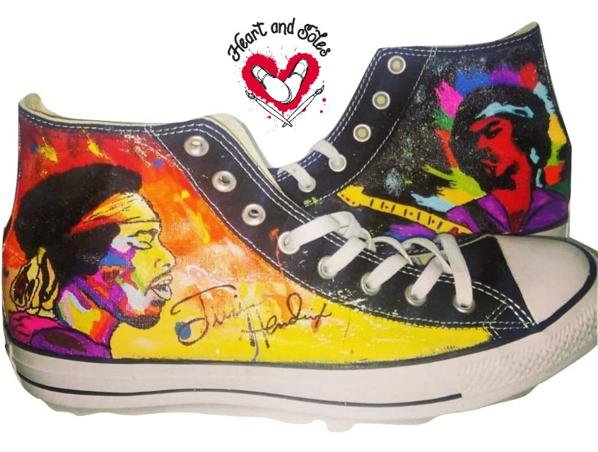 e5bf34636b94 Jimi Hendrix hand painted Converse shoes · Heart and Soles · Online ...