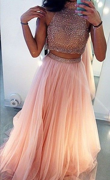 a9daaef48f2 Prom Dress A-line Sexy Two Pieces Pink Beads Rhinestones Open Back Chiffon  Long Prom ...
