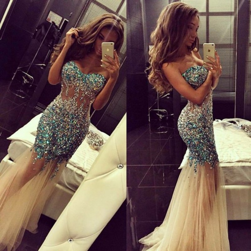 8bd51500ce8f Evening Dress Luxury Bling Sparkle Beads Rhinestones Tulle Evening Dresses  Prom Dress on Storenvy