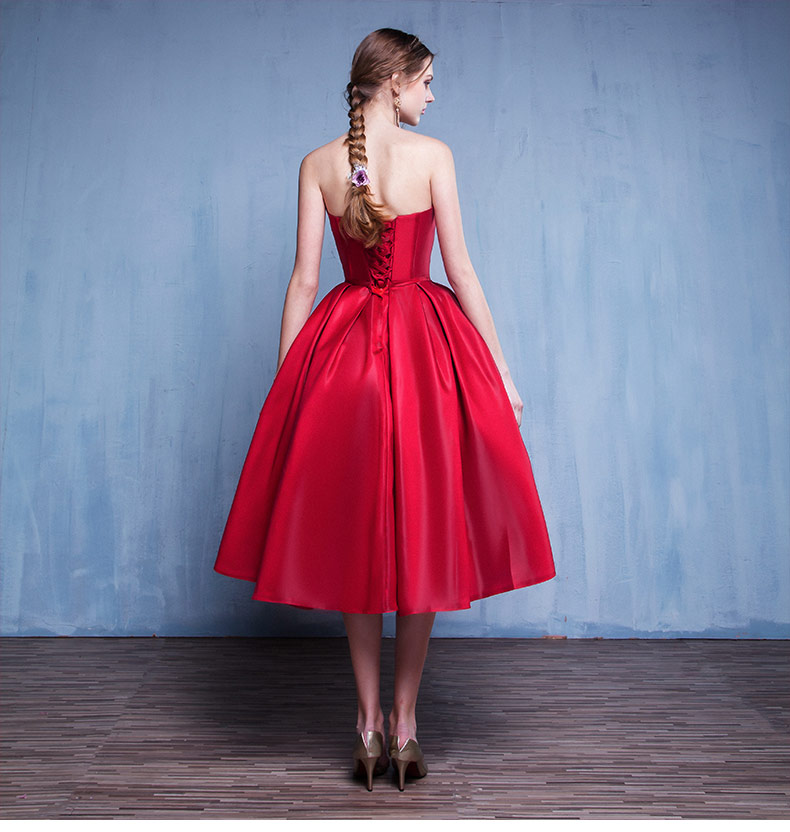 Prom Dress A Line Red Sweetheart Satin Mid Calf Satin Prom Dresses