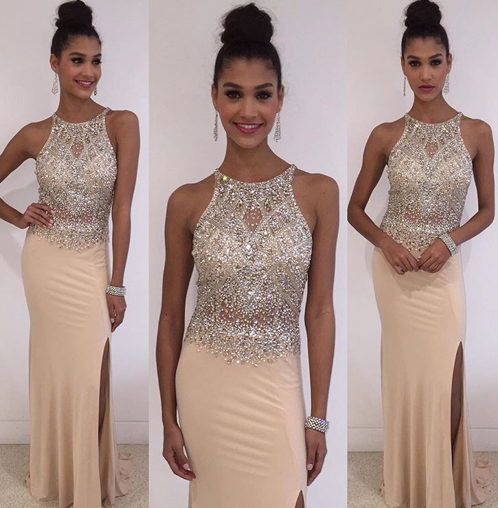 Champagne Prom Dresses Elegant A Line Jewelry Hot Slit Prom Gowns