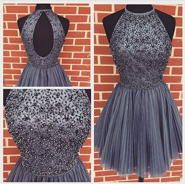 c06e2883f58 Fashion Halter Grey Tulle Back O Homecoming Dresses Short Prom Dress ...