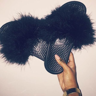 944732eb50e9 Faux Fur Nike Slide Sandals on Storenvy