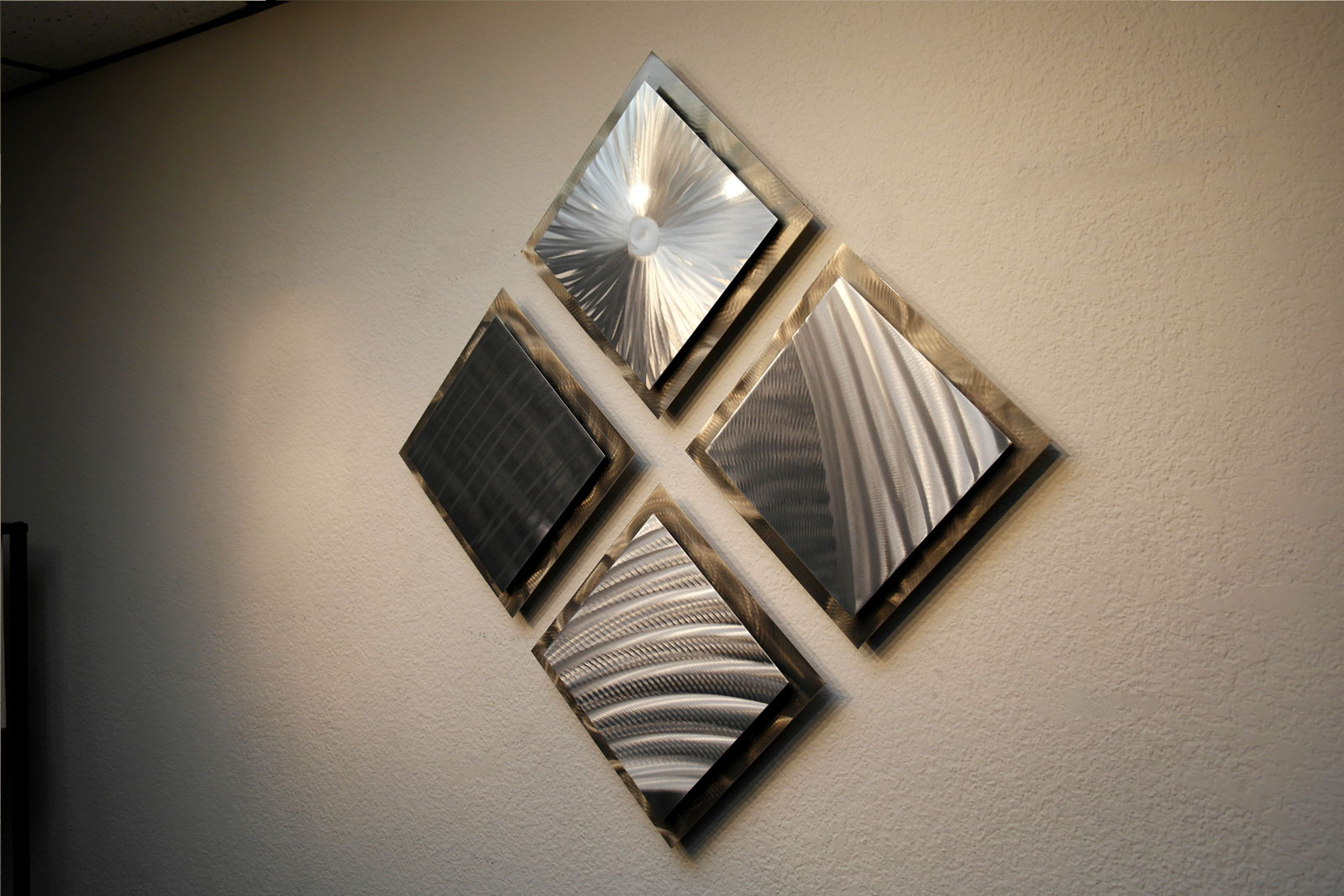 4 Squares- Gold Silver 35 x 35 - Metal Wall Art Abstract ...