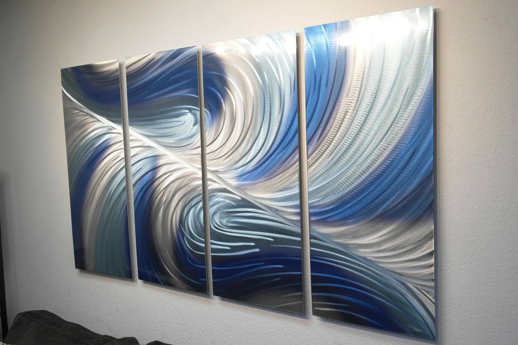 Echo 3 Blues V2 36x63-Metal Wall Art Abstract Sculpture
