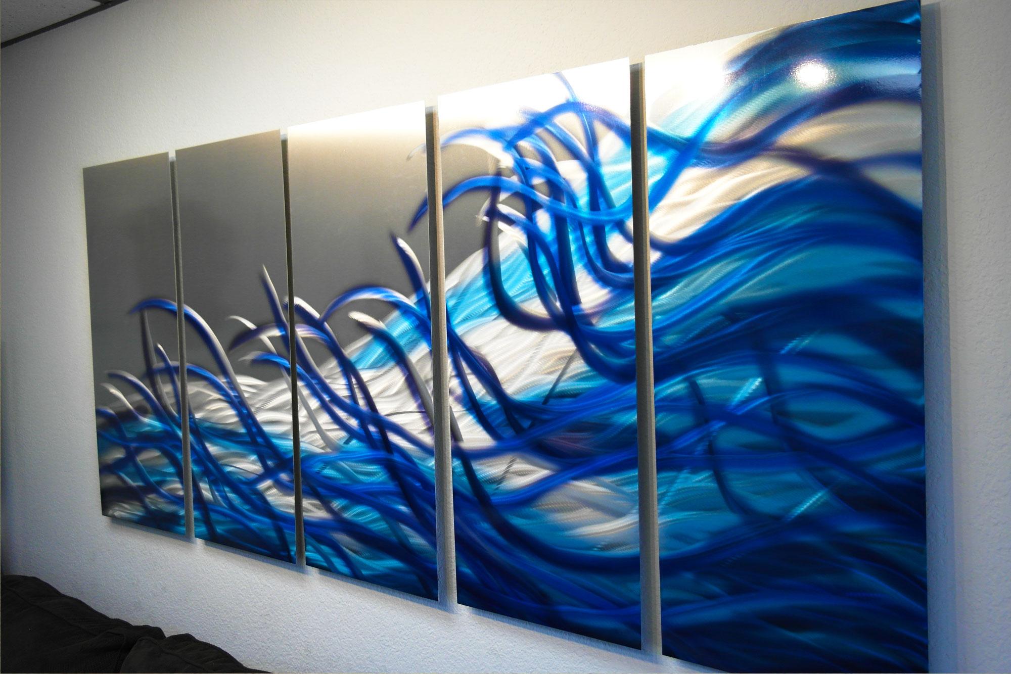 Resonance Blue 36x79- Metal Wall Art Contemporary Modern