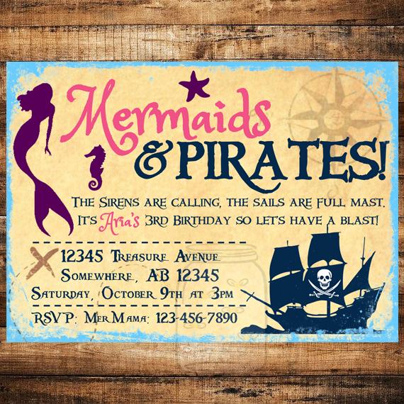 Mermaids and pirates birthday invite on storenvy mermaidandpirate original filmwisefo