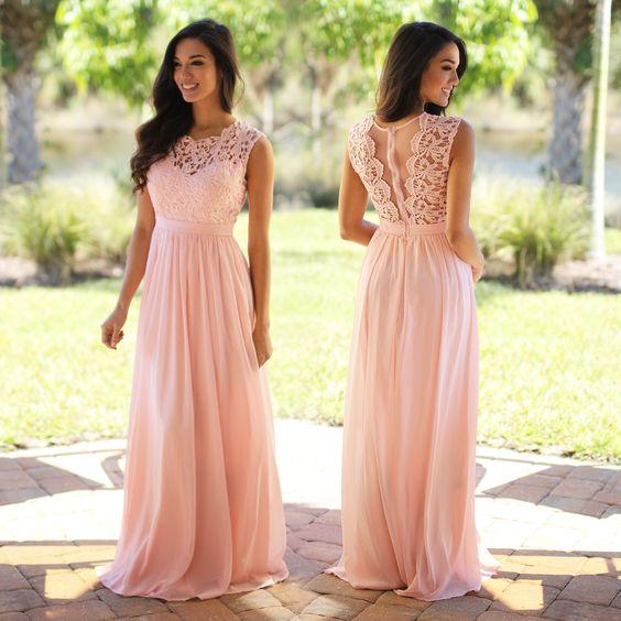 Pink Prom Dresslace Prom Dresseslong Prom Dressesblush Pink