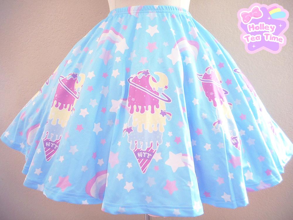 XS-3XL Blue Alien Skirt 34ths Circle Skater Skirt with Kawaii UFOs on Light Blue