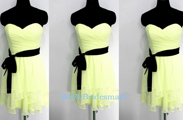 4c8ca19a6d Cute Short Chiffon Yellow Sweetheart Prom Dresses
