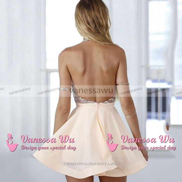 089cd2082d3 ... Casual A-line Halter Homecoming Dresses