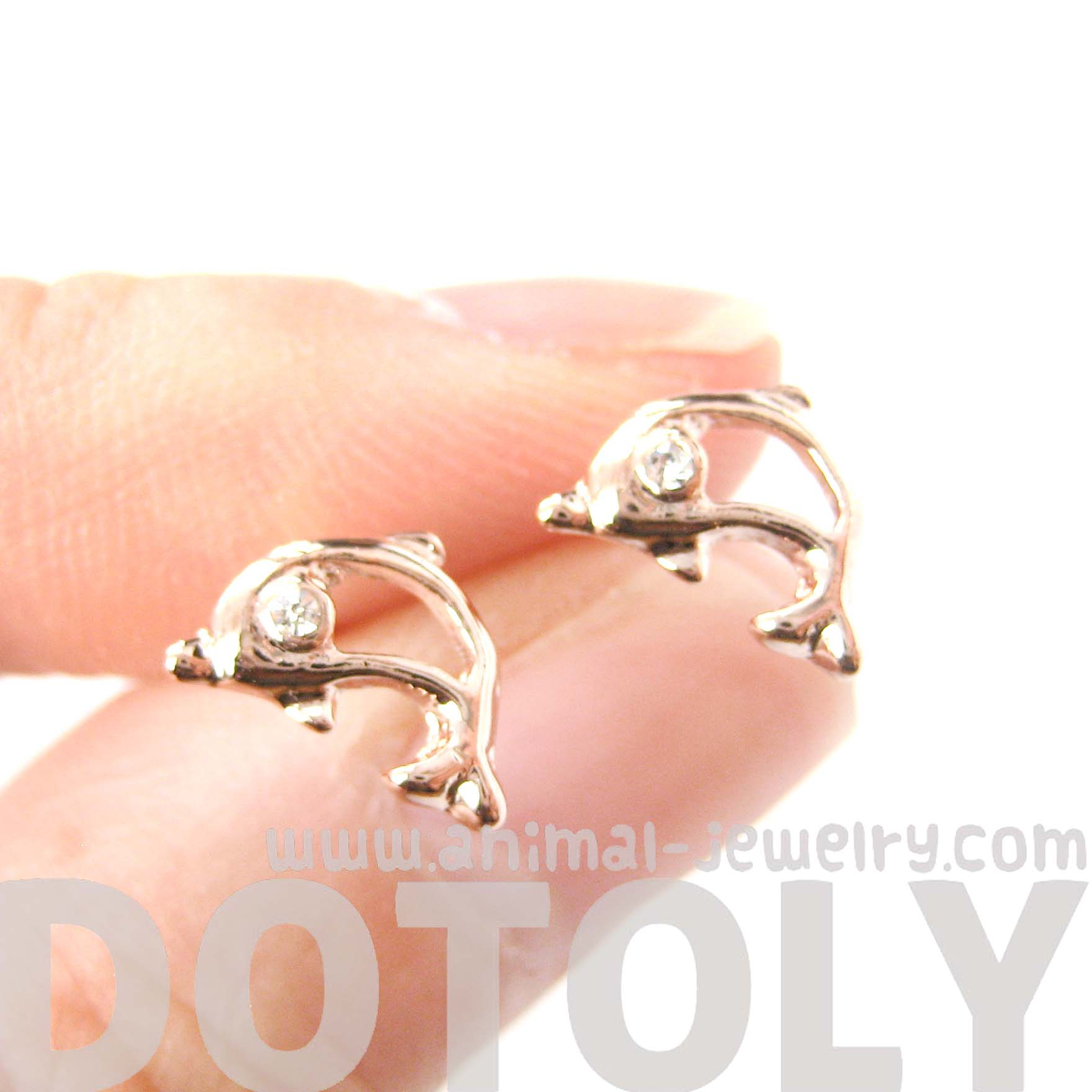 f5361b525 Small Dolphin Shaped Sea Creature Stud Earrings In Rose Gold - Thumbnail 1  ...