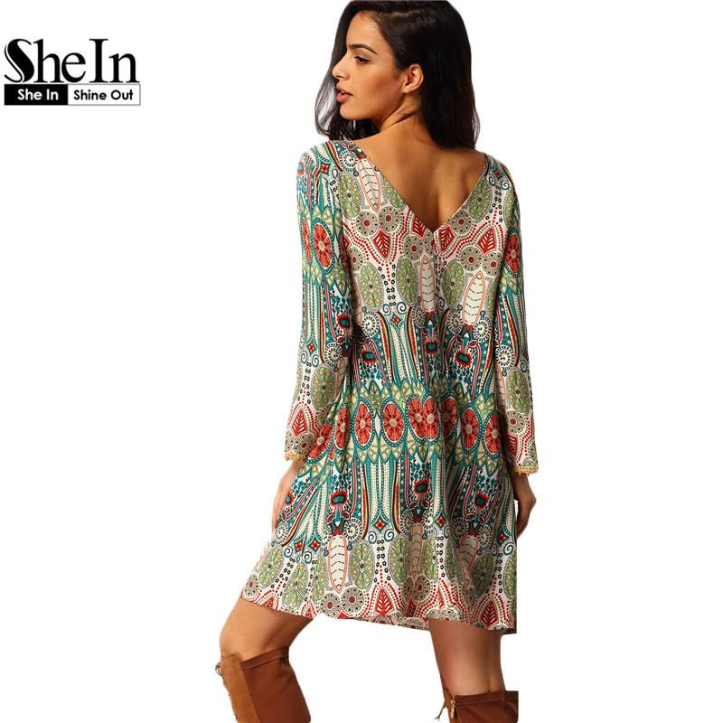 c76d62a40a32 Vintage 2016 Online Shop Clothing Brand Casual Women Crew Neck Aztec Print  V Back Shift Long