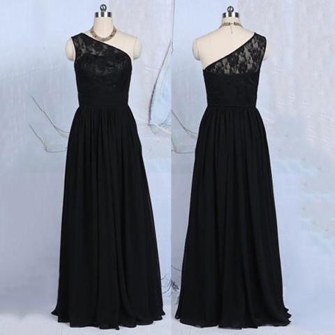 Asymmetric Long Chiffon Bridesmaid Dress One Shoulder Lace Black