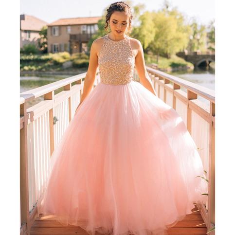 Elegant Jewel Neck A Line Pink Long Prom Dress Sleeveless
