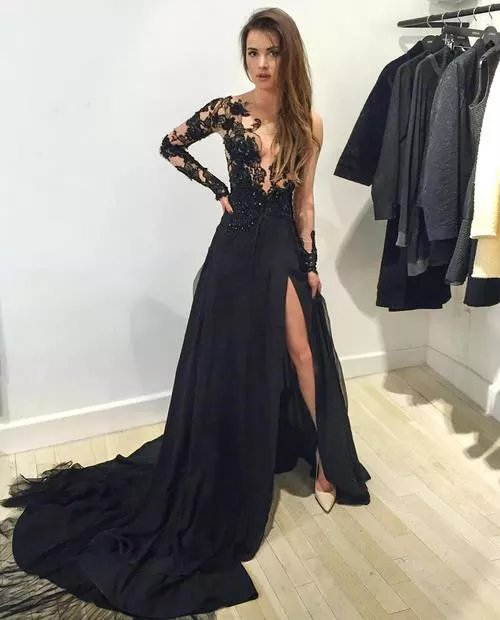 2b502c4bd2bff Sexy Black Prom Dress Prom Dresses Evening Party Gown Formal ...