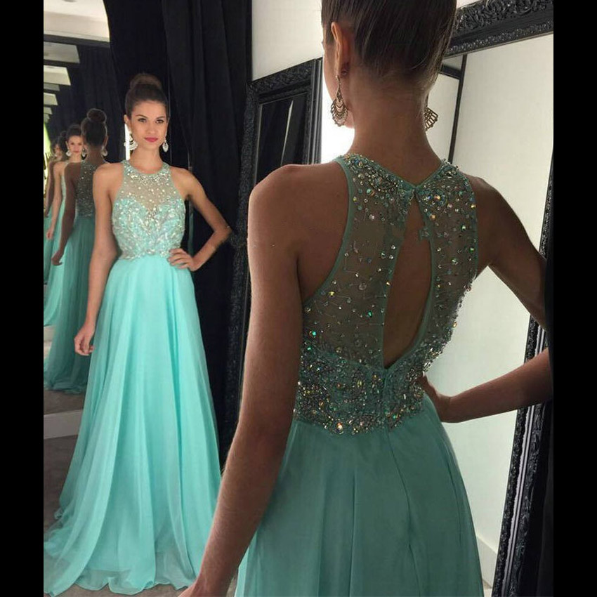 4def66ac299d Jewel Neck A-line Crystal Beaded Prom Dress, Mint Green Chiffon Prom Dress  with