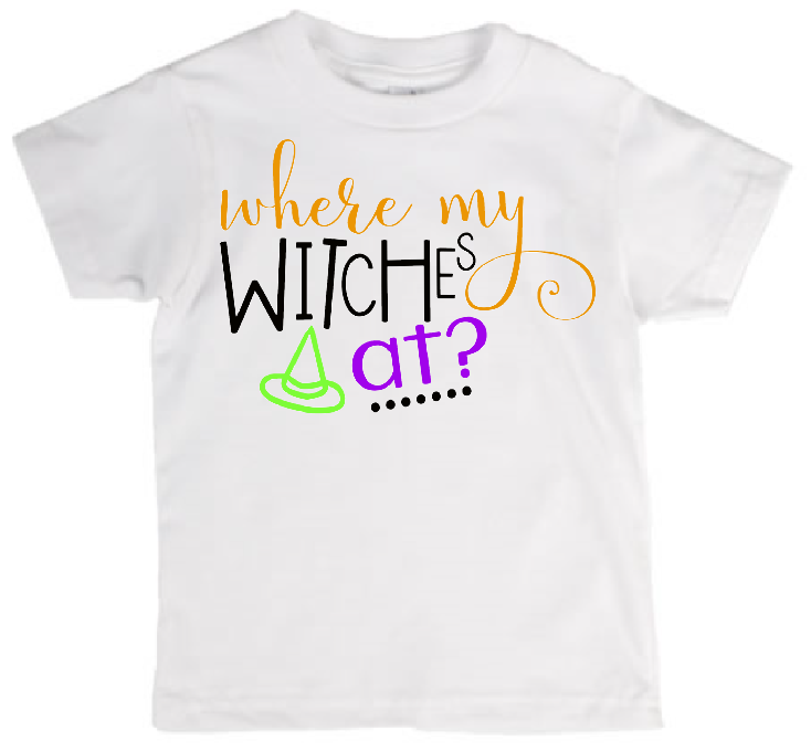 effda830811c1 Children's Tee Shirt Where my Witches at from CryBabyFashion