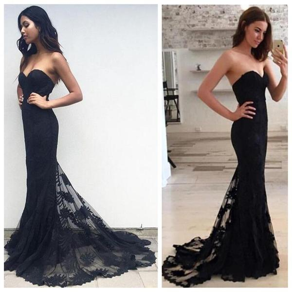Black Long Strapless Lace Prom Dresses,Prom Gowns,Modest Evening ...