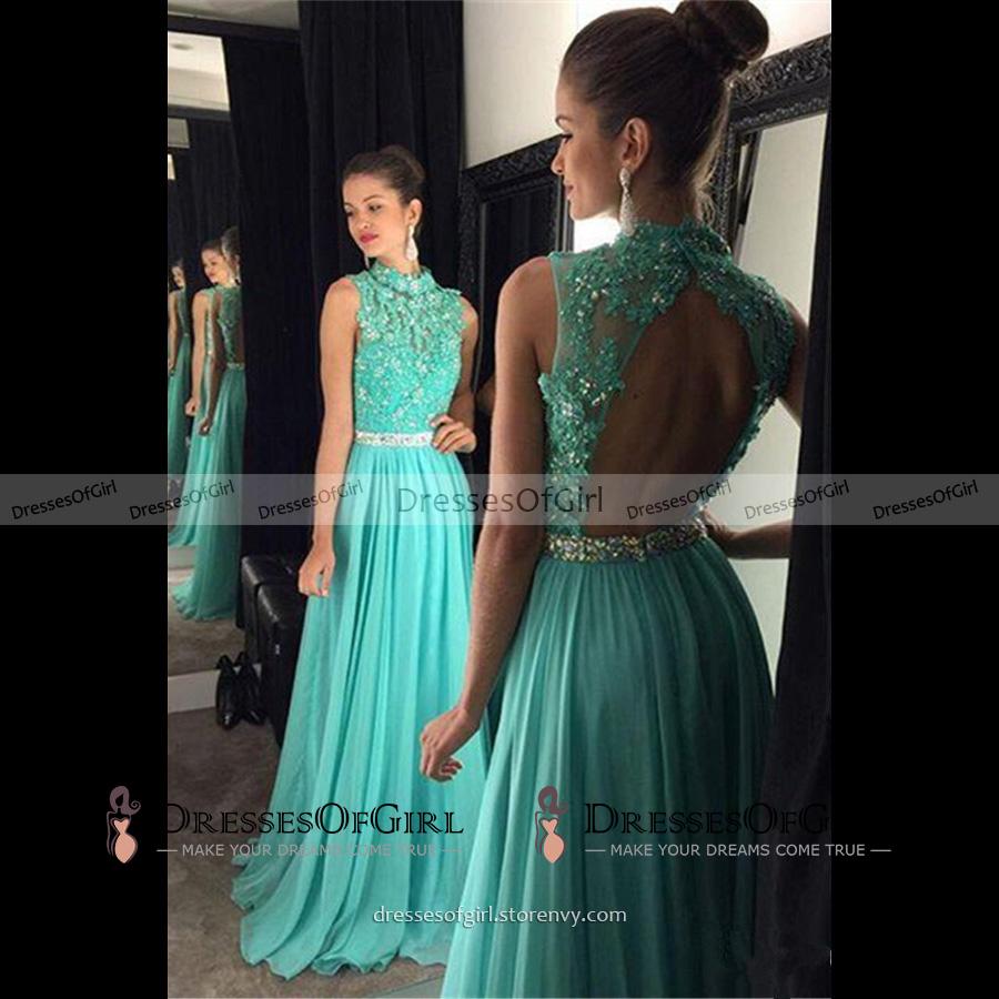e9e174d68 High Neck Open Back Long Prom Dress