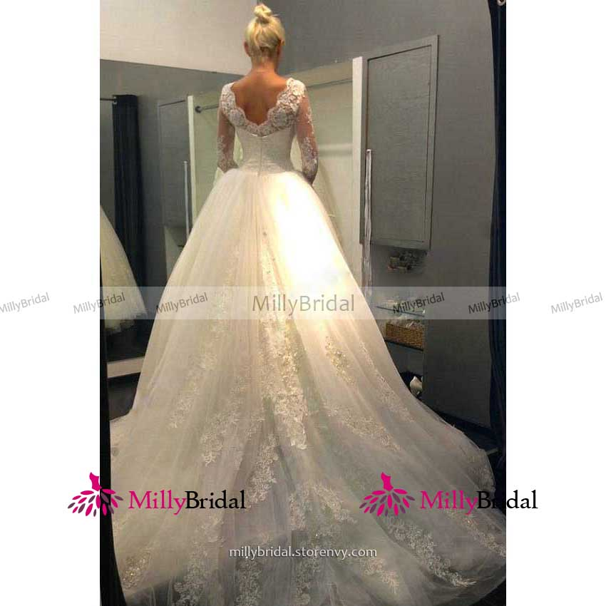 4fab43dc59b Scalloped jewel neck illusion long wedding dress fairytale v back long  sleeves lace bridal gown tulle