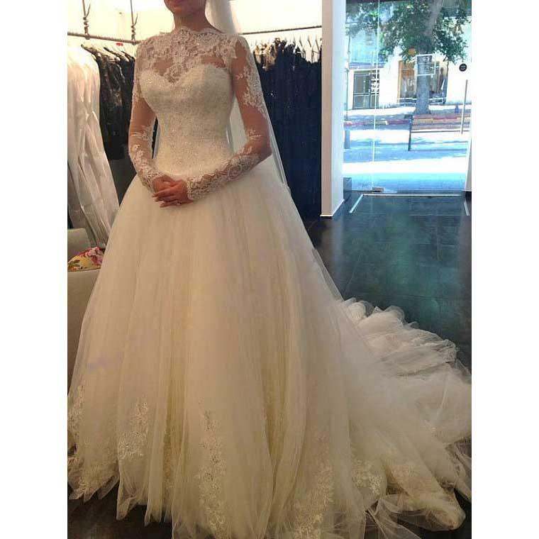Scalloped Jewel Neck Illusion Long Wedding Dress, Fairytale Long ...