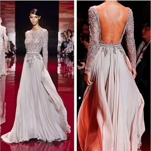 Long Sleeve Prom Dress Open Back Prom Dress Gorgeous