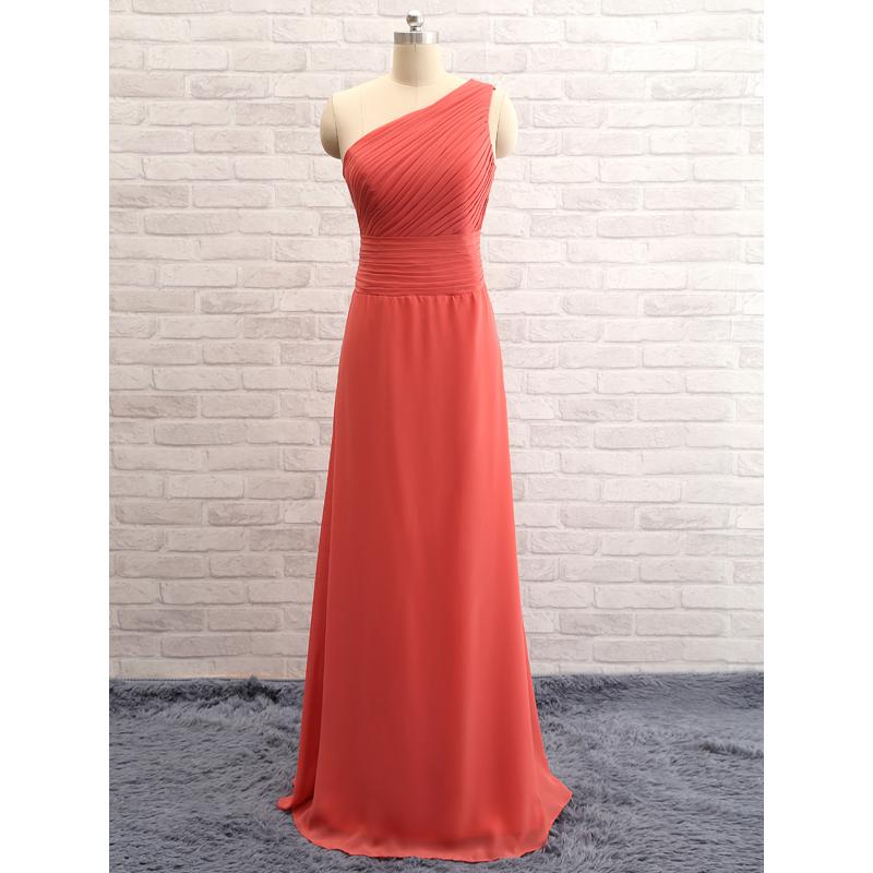 b87ab5d5e4 Elegant Custom Made Chiffon Coral One Shoulder Dress