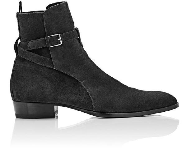 abda3e9c164 Handmade men jodhpurs black suede leather ankle boot, Men strap wraped monk  boot