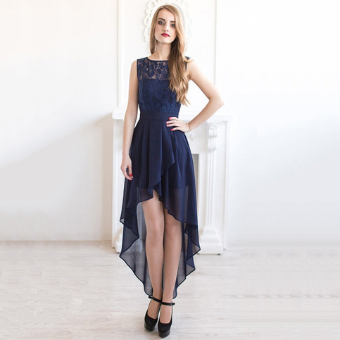 cd82dcf2b Bateau Neck Illusion Navy Blue Bridesmaid Dress, Asymmetric High Low Lace  Bridesmaid Dress, Chic Sash Chiffon Bridesmaid Dress, #01012927 ·  Millybridal ...