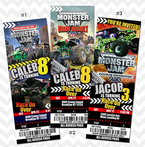 Grave digger invitation monster jam truck on storenvy monster jam invitation small filmwisefo