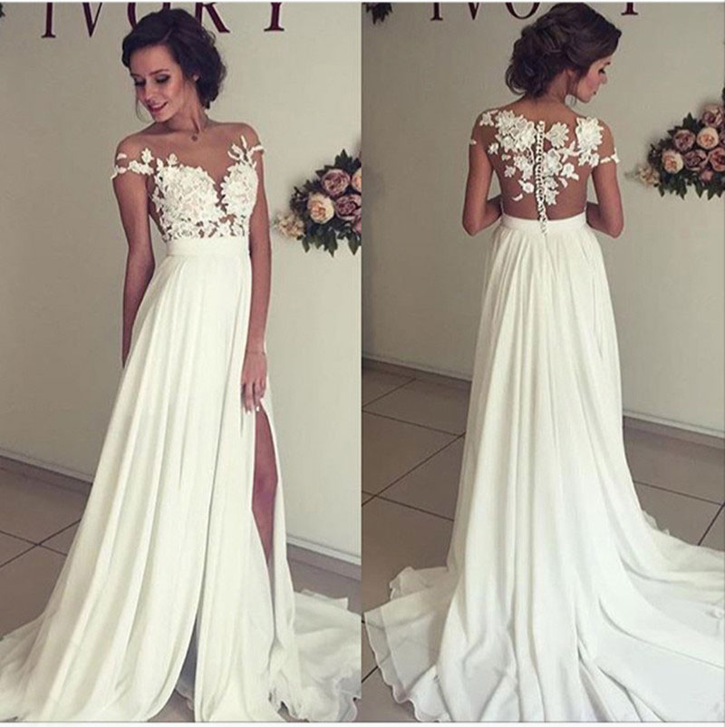 A-line Lace Appliqued Cap Sleeves Prom Dresses,Ivory Chiffon Beach ...
