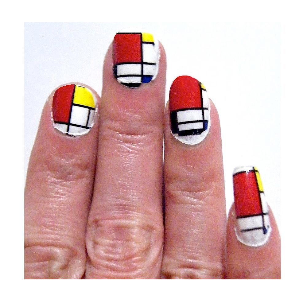Mondrian Geometric Painting Manicure Pedicure Art History Yellow White Blue Squares Nail Polish