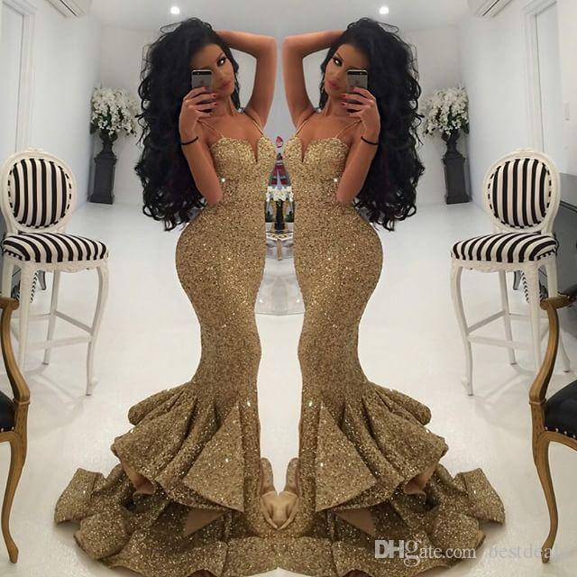 Sparkly Straps Mermaid Gold Long Sequins Prom Dress With Slit On