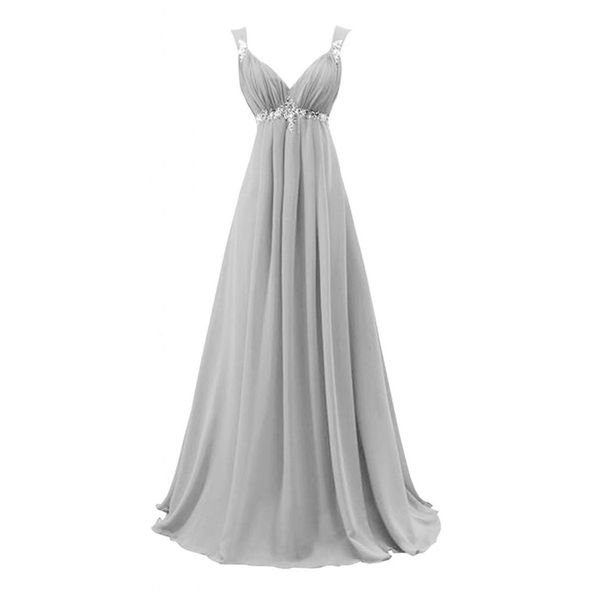 0407c124abb8 Chic Light Gray V Neck Long Prom Dress, Beaded Empire Floor Length Prom  Dress, Elegant Sleeveless Lace-up Chiffon Prom Dress, #020102716 on Storenvy