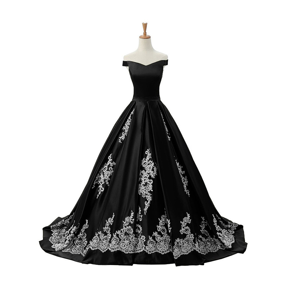 9d2f0f17b55 Chic Off the Shoulder Pleats Black Prom Dress, Princess Lace-up Satin Prom  Dress, Lace Appliques Long Sweep Train Prom Dress, #020102721 on Storenvy