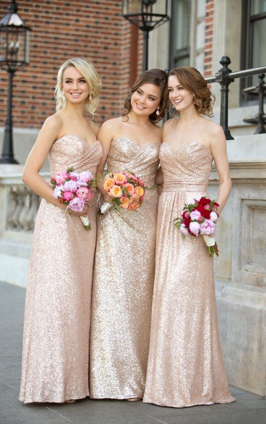 Sequin Bridesmaid Dresses Sweetheart Bridesmaid Dresses Gold