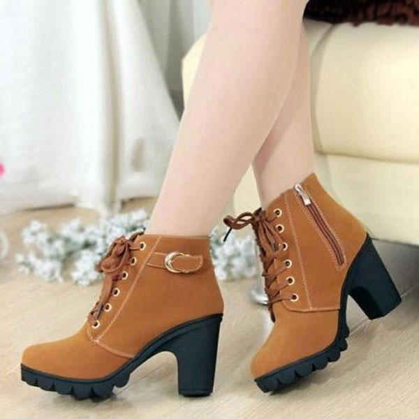 35ca6faf7b30 Brown Women Girl High Top Heel Ankle Boots Winter Pumps Lace Up Buckle  Suede Shoes on Storenvy