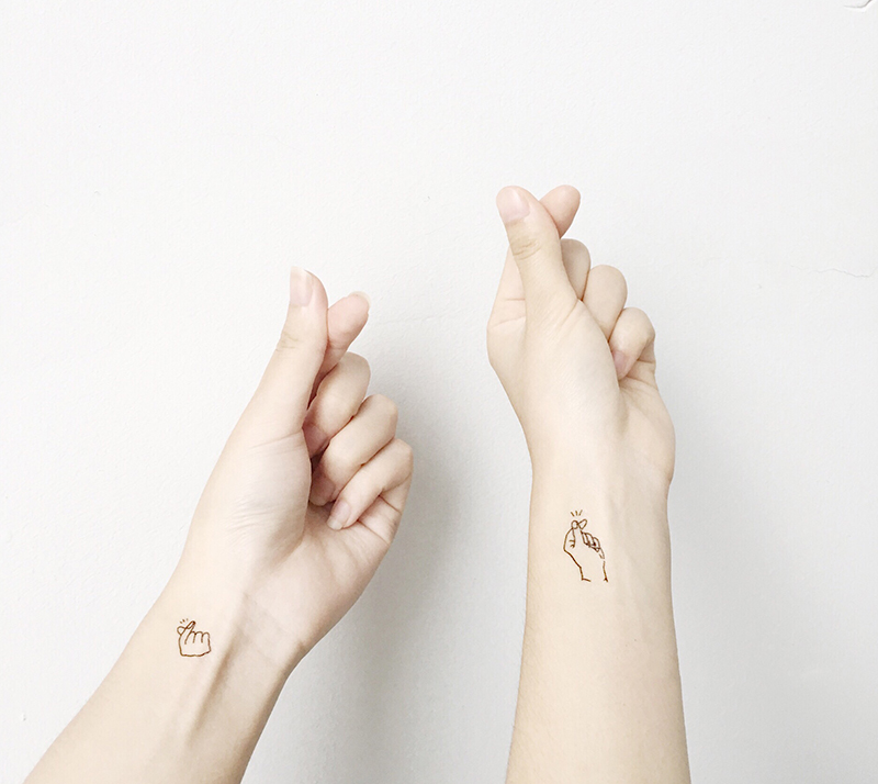 2 Quote Matching Temporary Tattoos Kpop Hot Finger Heart