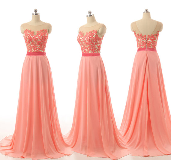c94b58c13f3 Light Coral Lace Chiffon Prom Dresses High Neck Long Bridesmaid Dresses