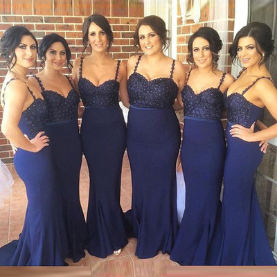 Spaghetti Straps Bridesmaid Dresses,Navy