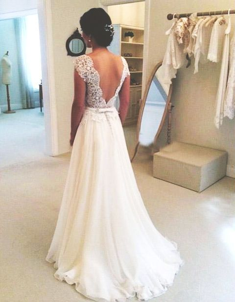 Chiffon Lace Wedding Dress V Back With Waistband Onlyforbrides Online Store Powered By Storenvy