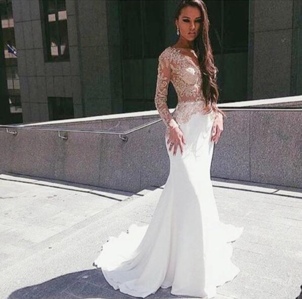 White Wedding Dress Song: Popular White Prom Dress,Mermaid See Through Sexy Party